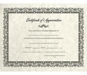 8 1/2 x 11 Certificates - Appreciation