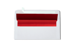 #10 Square Flap Lined Envelopes White w/Red LUX Lining