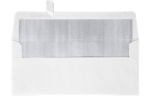 #10 Square Flap Lined Envelopes White w/Silver LUX Lining