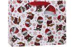 Large (12 1/2 x 10 x 5) Gift Bag Kitty Christmas