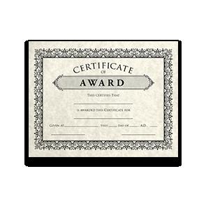 8 1/2 x 11 Certificates Pre-Printed